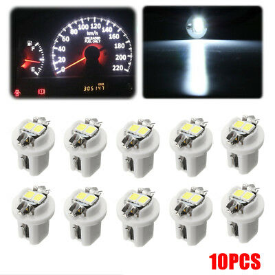 10x White T5 B8.5D 5050 LED Car Dash Wedge Gauge Instrument Side Light Bulb Lamp
