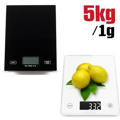 5kg Black/White Digital LCD Electronic Kitchen Cooking Food Weighing Scales UK