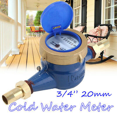 "3/4"" 20mm Garden Home Brass Flow Measure Tape Cold Water Meter Counter Tools"