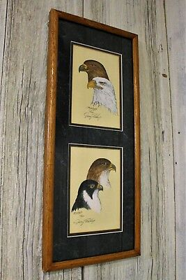 Jerry Bishop Framed & Signed Hand Painted Print of American Eagle & Bird 22/250