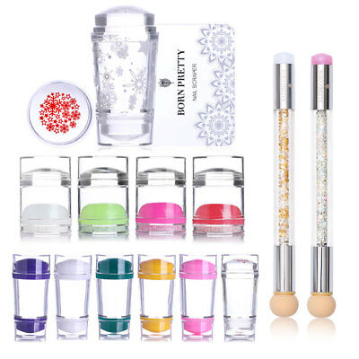 Jelly Silicone Nail Stamper & Scraper Kit Dual-ended Nail Art Stamping Tools Set