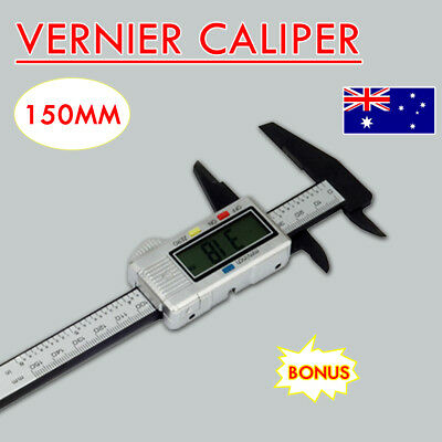 """150mm 6""""  Electronic Digital Vernier Caliper Cabon LCD Gauge with Case New"""
