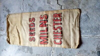 vintage hessian burlap grain sack seed milns chester large job lot new old stock
