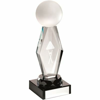 CLEAR GLASS LASERED POOL/SNOOKER COLUMN ON BLACK BASE TROPHY - 8in