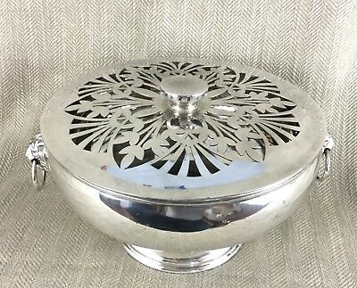 Large Antique Centerpiece Rose Bowl Punch Silver Plated Lion Mask Handles