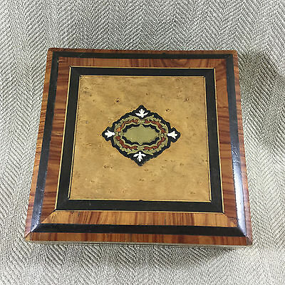 Antique French  Wooden Jewelry Box Inlaid Marquetry Veneer Boulle