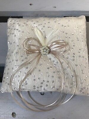 Champagne Wedding Ring Cushion Bearer Pillow Sparkly Lace Pearl Diamanté Feather