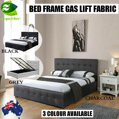 BED FRAME GAS LIFT Fabric GREY / BLACK COLOUR DOUBLE QUEEN KING SINGLE SIZE