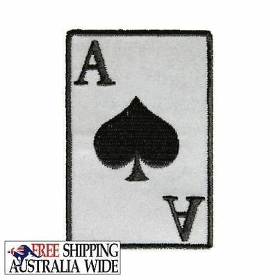 REFLECTIVE ACE OF SPADES  Biker Motorcycle Vest Patch Sew or Iron On