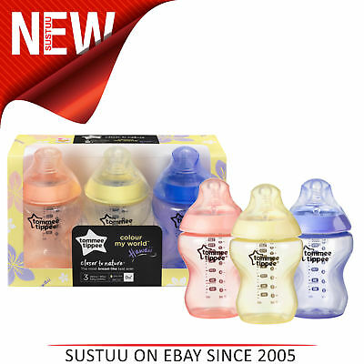 Tommee Tippee Closer to Nature Colour My World Bottle Pink 260ml 3Pk│Anti Colic