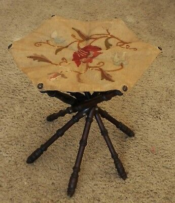 Antique Vintage Wood Crewel Embroidery Collapsible Spindle Footstool Rest
