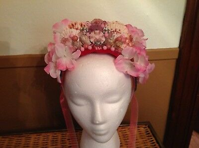 pink red mermaid flower crown wedding festival bellydance boho