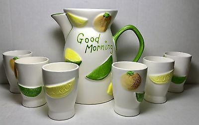 Vintage Napcoware Porcelain Pitcher  6 Matching Cups Good Morning Theme #C-5352