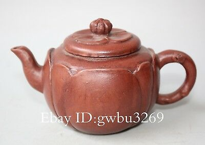 Marks China Exquisite Yixing Zisha Teapot Handwork Carved Lotus shap Teapot a001