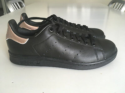 NWOB Adidas STAN SMITH Classic Trainers Black W Rose Gold Women s Size 6.5 2df26d77c