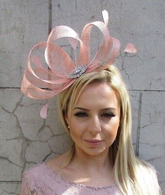 Blush Nude Pink Silver Sinamay Feather Hair Fascinator Races Wedding Hat 5694