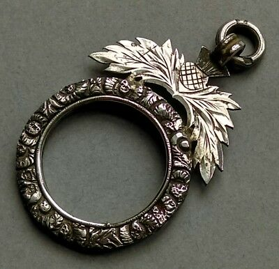 1830s SILVER MINIATURE PORTRAIT / PENDANT FRAME with HAND CHASED THISTLE MOTIFS.