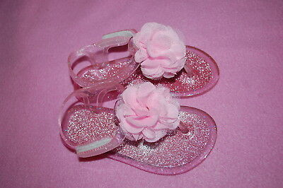 9b6538fa2277 Toddler Girls PINK GEL THONG SANDALS Ankle Strap SILVER GLITTER Flower SIZE  7