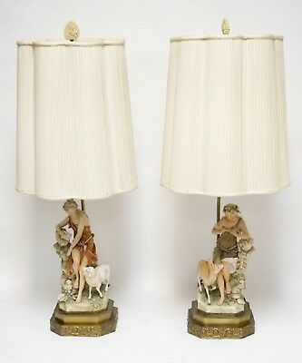 """Pair Of Quality Figural Porcelain Lamps 33"""""""