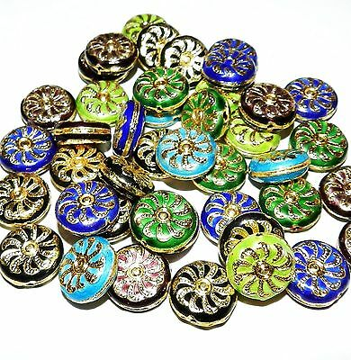 CL147p Assorted Color Handmade Cloisonne 17mm Flat Round Coin Bead 10pc
