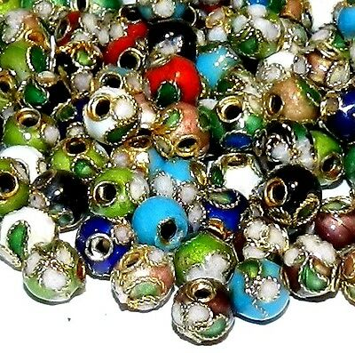 CLL111 Assorted Color 6mm Round Enamel Overlay on Metal Cloisonne Beads 50pc