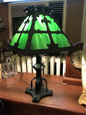 "Antique Arts & Crafts Slag Lamp Wrought Iron Green Circa 1890 22"" High 12"" Wide"
