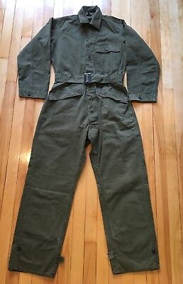 Vintage Us Army Wwii Ww2 Herringbone Coveralls 1940S 13 Stars Metal Buttons