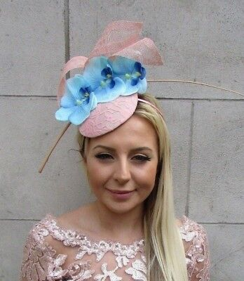 Blush Nude Pink Light Blue Orchid Flower Feather Hat Hair Fascinator Races 5702