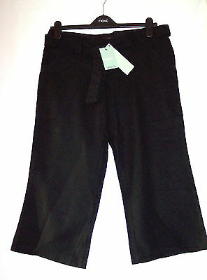 Next Maternity Size  8 Black 3/4 Length Linen-Mix Trousers New Bnwt