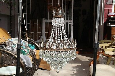 Antique Vintage Crystal  Chandelier French Basket Style Brass  from 1970's
