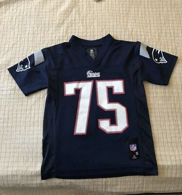 NFL TEAM APPAREL Blue Youth New England Patriots #75 Wilfork Jersey Size Youth S