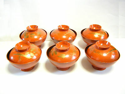 Japanese Vintage Okimono Red lacquer ware Makie Soup Bowl 10set Japon Nippon