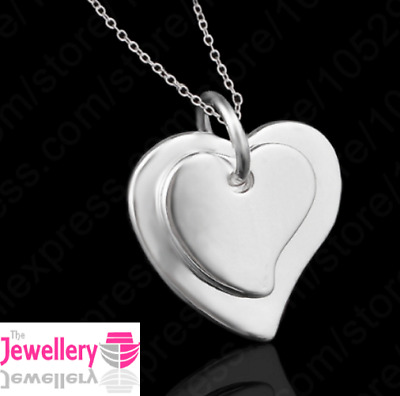 925 Sterling Silver Double Solid Heart Pendant Necklace Chain Womens Ladies Gift