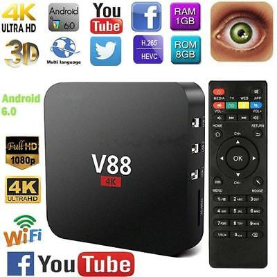 4K TV BOX V88 RK3229 Android 7.1 WIFI Quad-Core Set Top Box Media Player 1G+8G