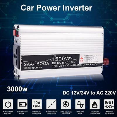 Portable 3000W Peak Car Auto Power Inverter 12V/24V to 220V Charger Converter