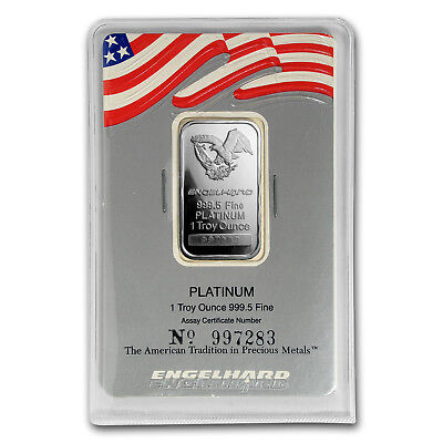 1 oz Platinum Bar - Engelhard Eagle Design (USA Flag Assay) - SKU#167589