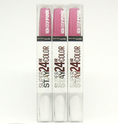 3 x MAYBELLINE SUPER STAY 24 HR COLOR Lippenstift NON-STOP PINK, 120 In The Pink