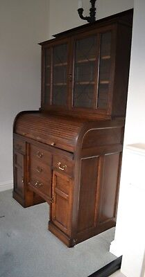 Antique Roll Top Desk, Oak, Edwardian