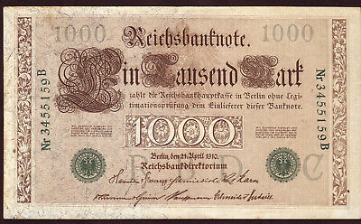 1910 1000 Mark Germany Vintage Antique Rare Paper Money Old Banknote Currency