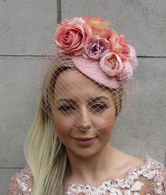 Blush Nude Light Pink Rose Birdcage Veil Flower Hair Fascinator Hat Races 5715