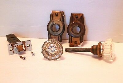 Vintage Door Knob Set with Plates Glass Mid Century Art Deco Antique Hardware