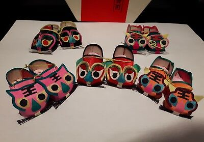 Chinese vintage miniature animal shoe set satin adorable collectable - see photo