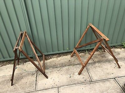 Vintage Industrial Rustic Wooden Timber Trestles Market Bench Work Folding