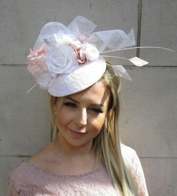 White Blush Light Pink Flower Feather Hat Fascinator Headband Wedding Hair 5724