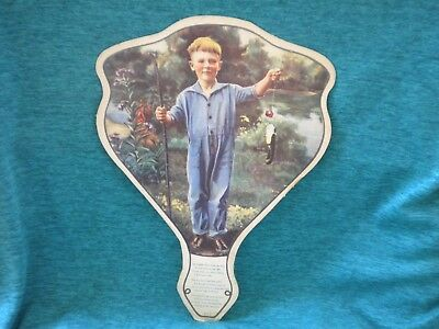 CARDBOARD FAN Vintage HOY GROCERY Store INDIANAPOLIS Indiana BOY FISHING POLE