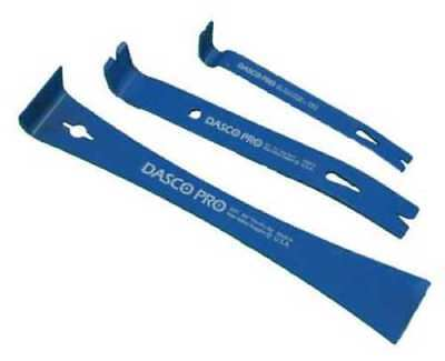 Dasco Pro 3 Piece Pry Bar Set Nail Puller Wrecking Bar Moulding Remover New