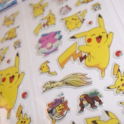 dd 4 Sheets Puffy Japan Anime Pokemon Stickers Pikachu US SHIP - B - Lot #10