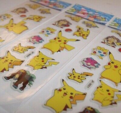 dd 3 Sheets Puffy Japan Anime Pokemon Stickers Pikachu US SHIP D - Lot #11