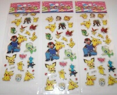 dd 3 Sheets Puffy Japan Anime Pokemon Stickers Pikachu Pocket US SHIP -Lot #3
