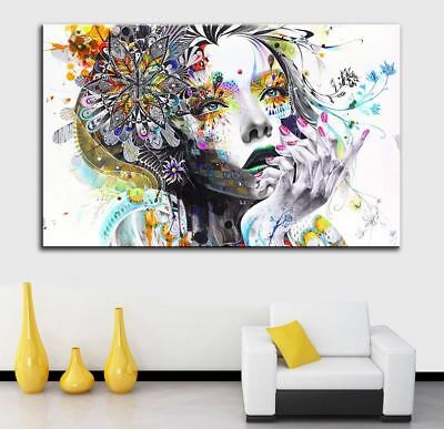 Modern Wall Art Girl With Flowers Painting Canvas Print wall art home decor